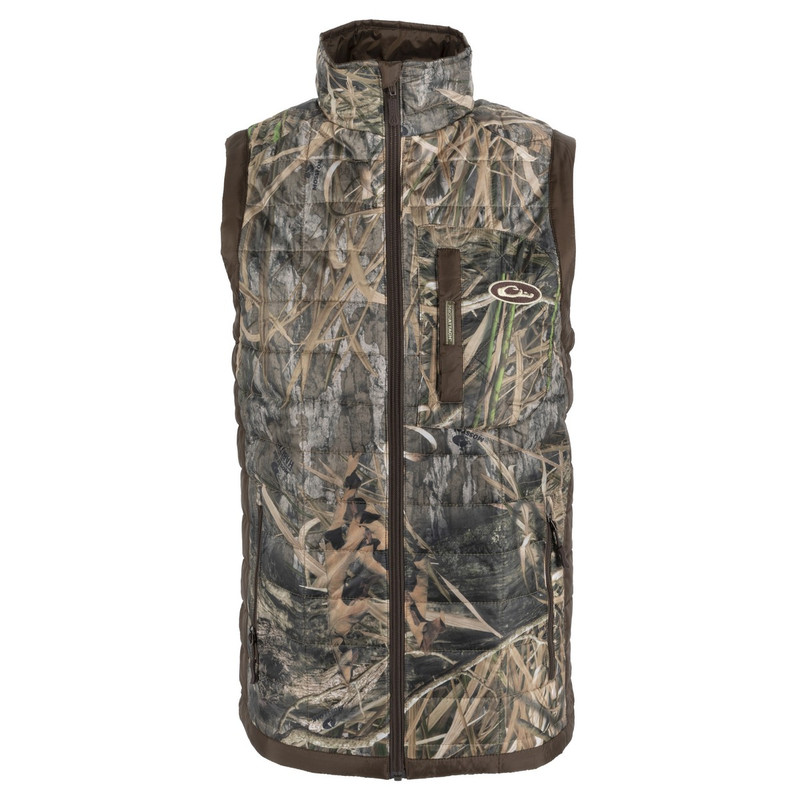 Drake MST Synthetic Down Packable Two Tone Vest in Mossy Oak Blades Habitat Color