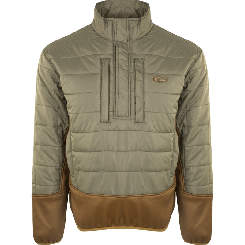 Drake Two-Tone Synthetic Double Down Quarter Zip Jacket in Green Light Brown Color