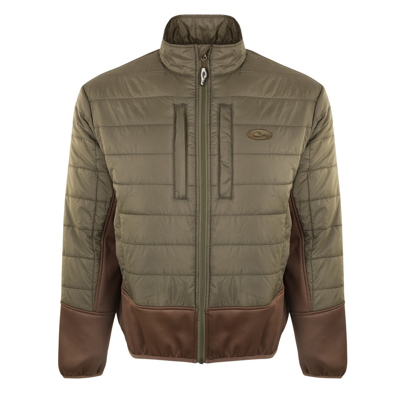 Drake Two-Tone Synthetic Double-Down Full Zip Jacket in Olive Brown Color
