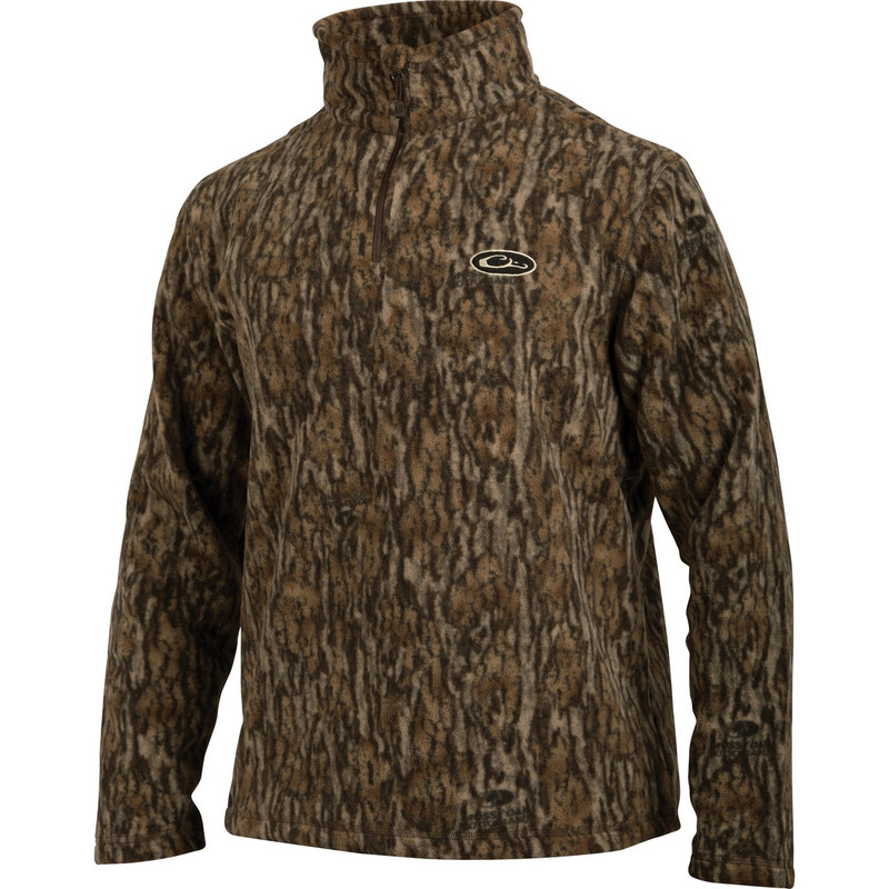 Drake MST Camp Fleece Quarter Zip Pullover in Mossy Oak Bottomland Color