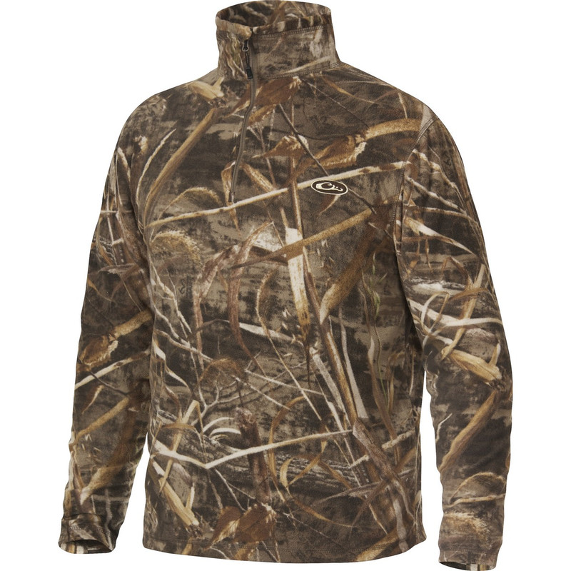 Drake MST Camp Fleece Quarter Zip Pullover in Realtree Max 5 Color