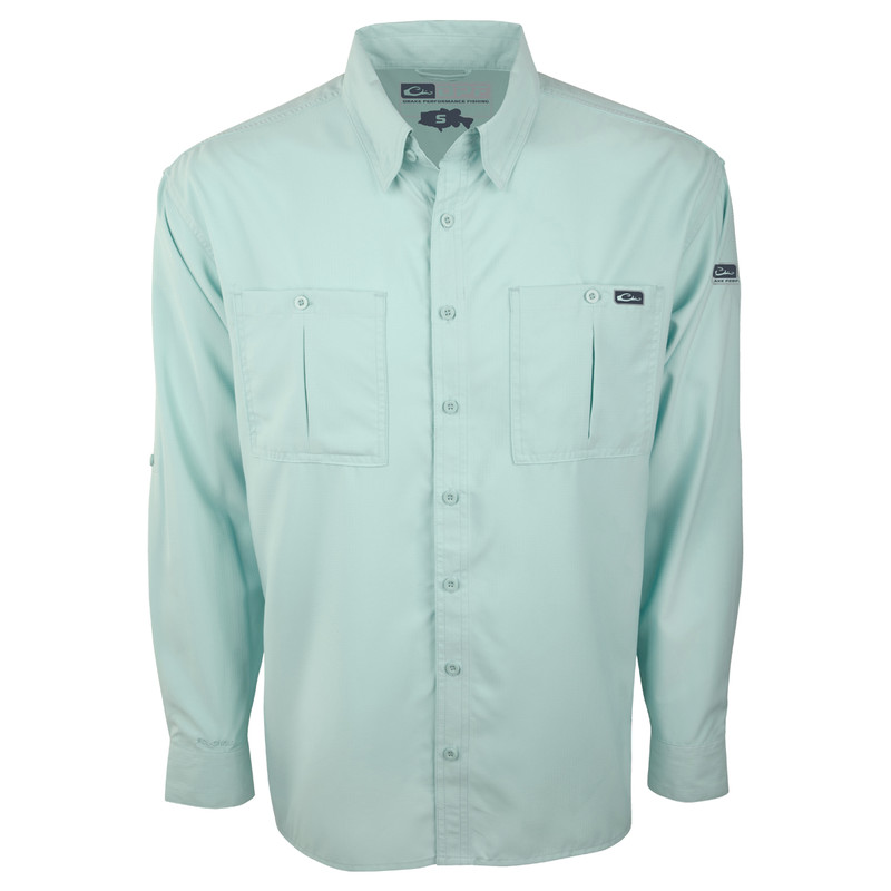 Drake DPF Flyweight Long Sleeve Shirt in Baby Blue Color
