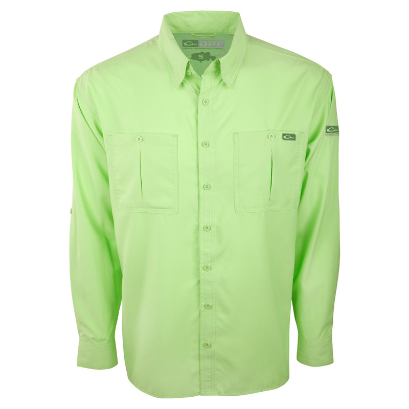 Drake DPF Flyweight Long Sleeve Shirt in Bright Green Color