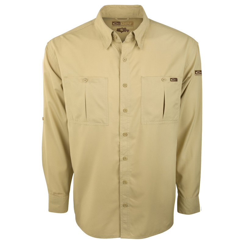 Drake DPF Flyweight Long Sleeve Shirt in Khaki Color