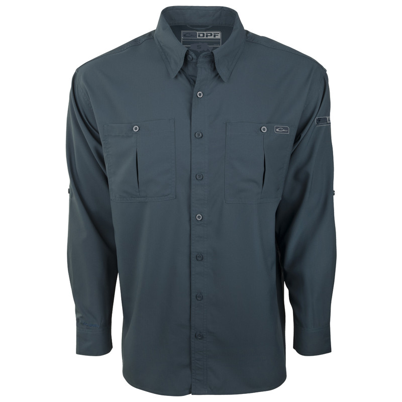 Drake DPF Flyweight Long Sleeve Shirt in Navy Color