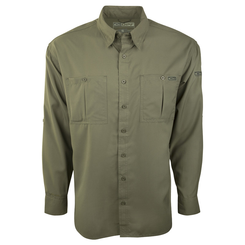 Drake DPF Flyweight Long Sleeve Shirt in Olive Color