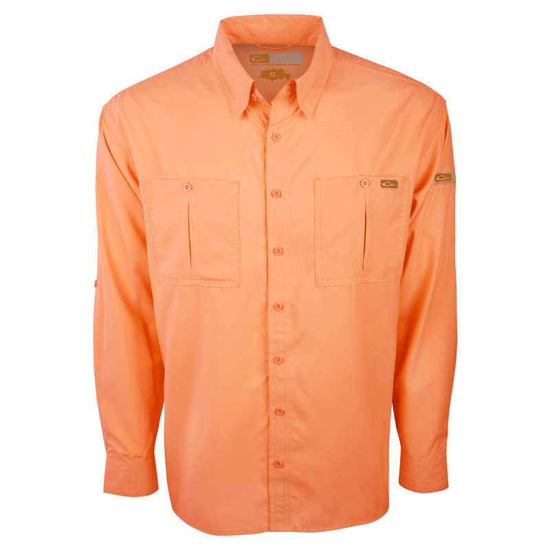 Drake DPF Flyweight Long Sleeve Shirt in Orange Color