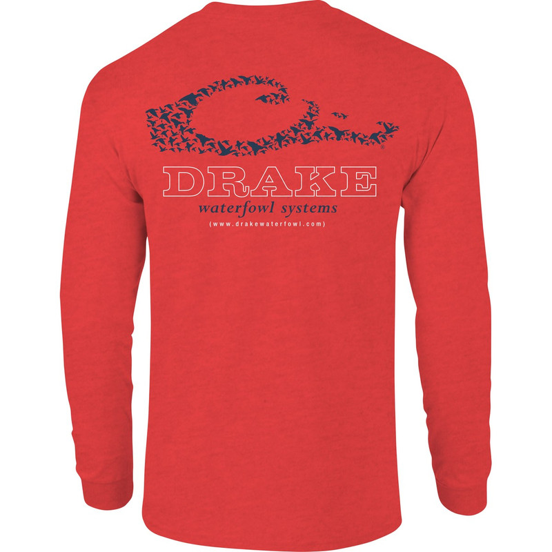 Drake Logo Long Sleeve T-Shirt in Red Heather Color
