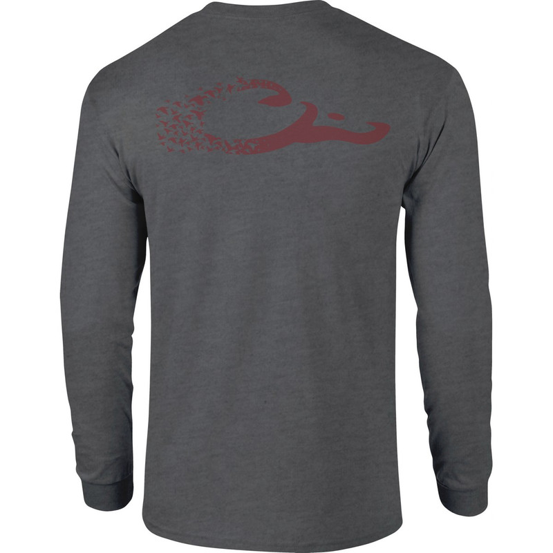 Drake Long Sleeve Duck Logo Shirt in Graphite Heather Color