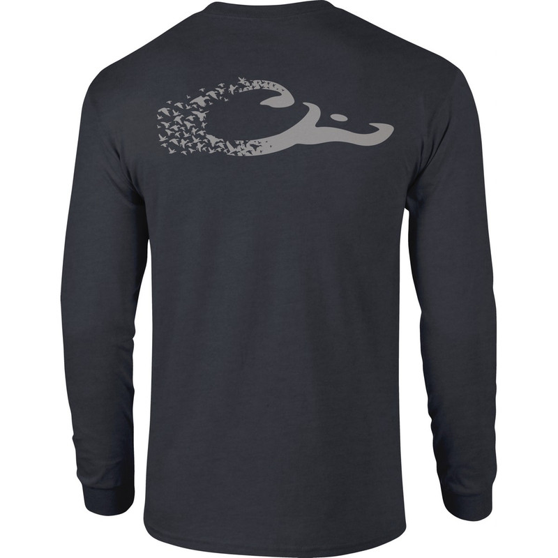 Drake Long Sleeve Duck Logo Shirt in Navy Heather Color