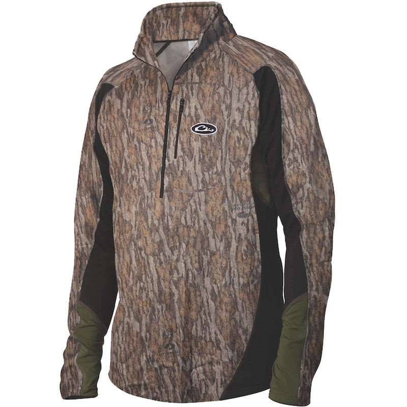 Drake Tri-Tec Performance Base Layer Quarter Zip Shirt in Mossy Oak Bottomland Color