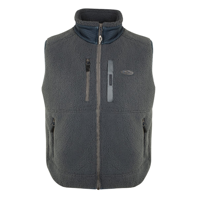 Drake Sherpa Layering Vest in Charcoal Navy Color
