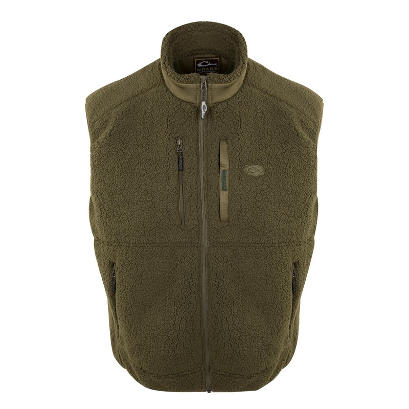 Drake Sherpa Layering Vest in Olive Dark Green Color