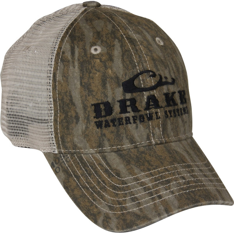 Drake Meshback Truckers Cap in Mossy Oak Bottomland Color