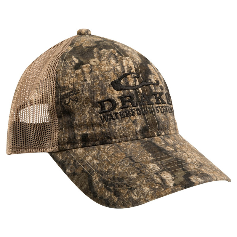 Drake Meshback Truckers Cap in Realtree Timber Color