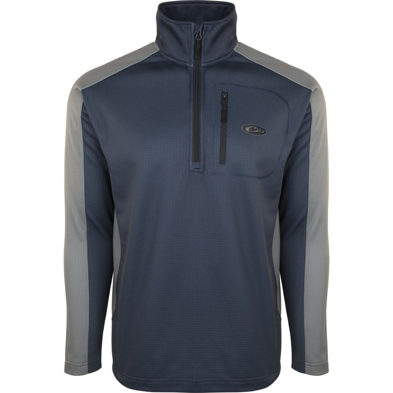 Drake BreathLite 2.0 Quarter Zip Pullover in Blue Night Charcoal Color