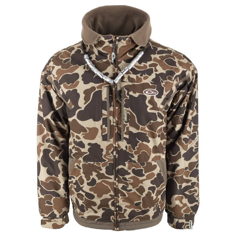 Drake MST Waterfowl Fleece-Lined Full Zip Jacket in Old School Camo Color