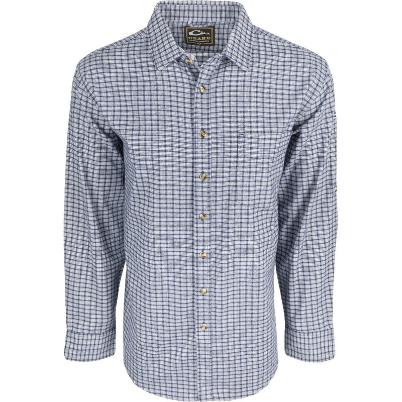 Drake Long Sleeve Nevertuck Shirt in Midnight Plaid Color