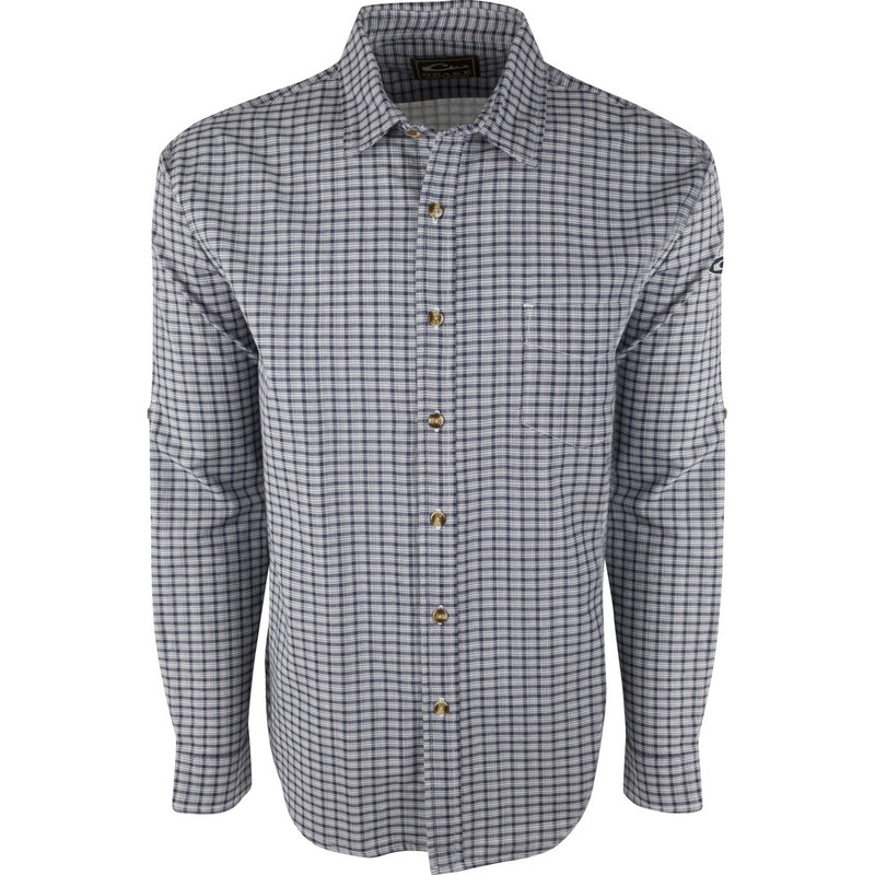 Drake Long Sleeve Nevertuck Shirt in Navy Plaid Color