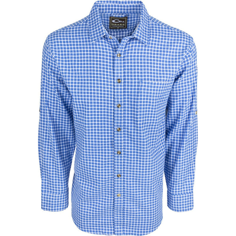 Drake Long Sleeve Nevertuck Shirt in Royal Blue Plaid Color