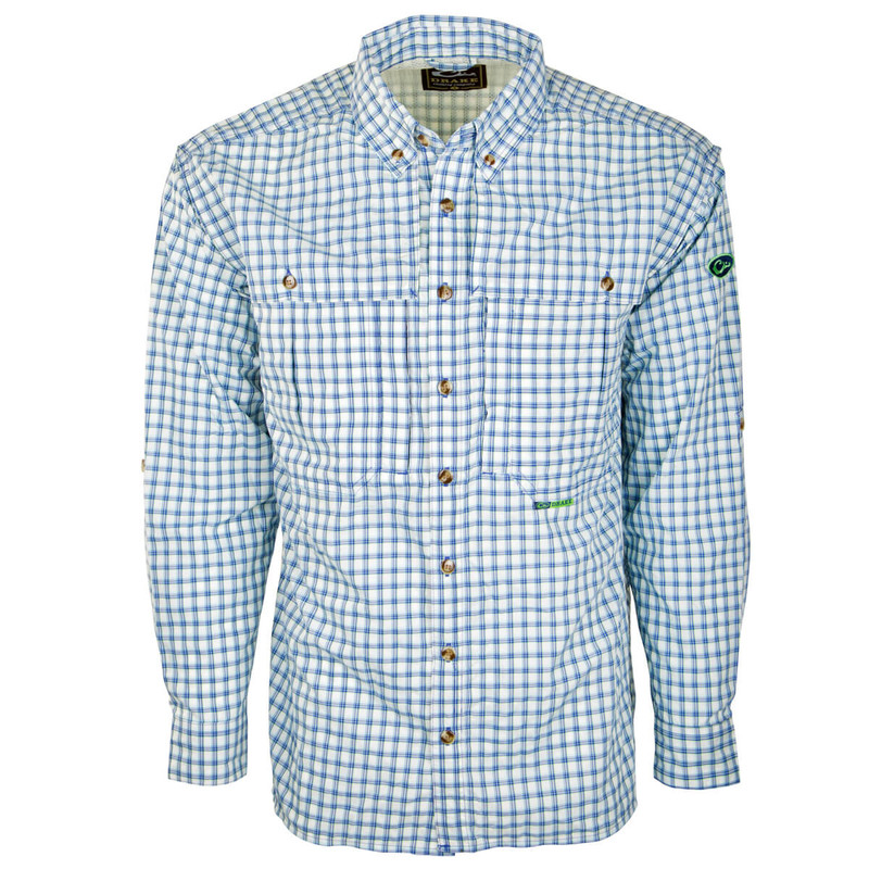 Drake Featherlite Wingshooter Plaid Long Sleeve Shirt in Blue Plaid Color
