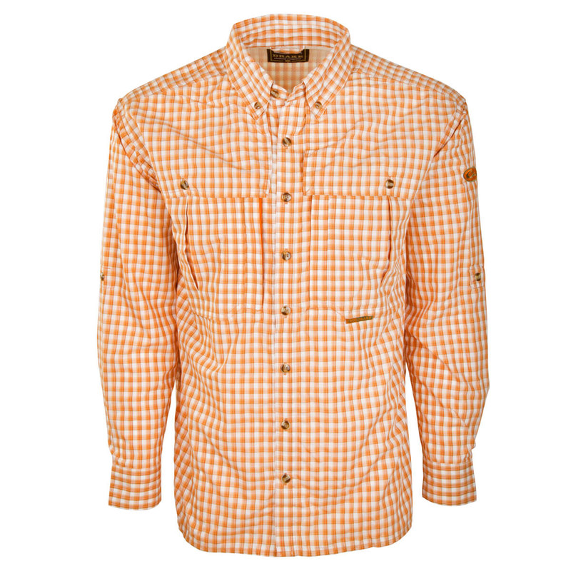 Drake Featherlite Wingshooter Plaid Long Sleeve Shirt in Orange Plaid Color