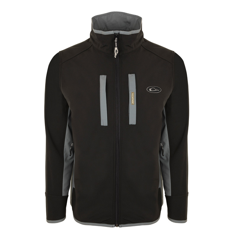 Drake Windproof Tech Jacket in Black Charcoal Color
