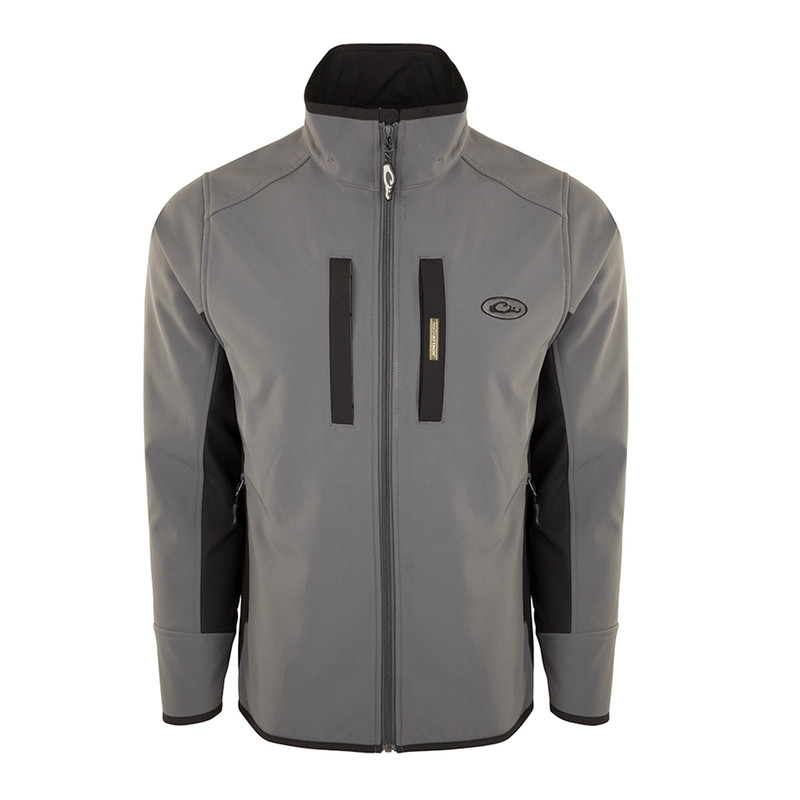Drake Windproof Tech Jacket in Charcoal Black Color