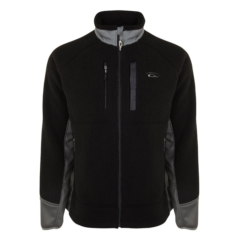 Drake Sherpa Fleece Layering Jacket in Black Charcoal Color