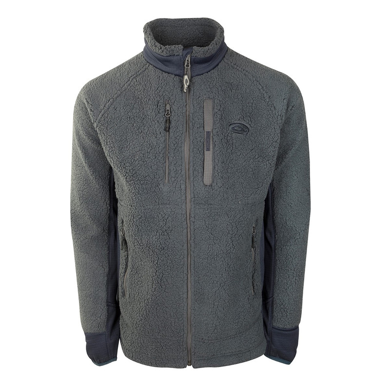 Drake Sherpa Fleece Layering Jacket in Charcoal Navy Color