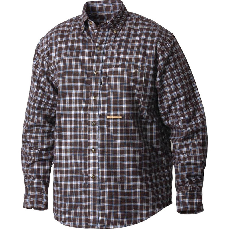 Drake Waterfowl Mens Autumn Brushed Twill Shirt in Brown Blue Color