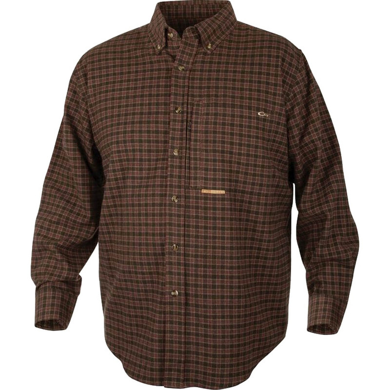 Drake Waterfowl Mens Autumn Brushed Twill Shirt in Green Red Color