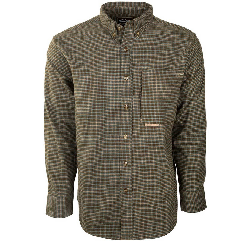 Drake Waterfowl Mens Autumn Brushed Twill Shirt in Green Tan Color