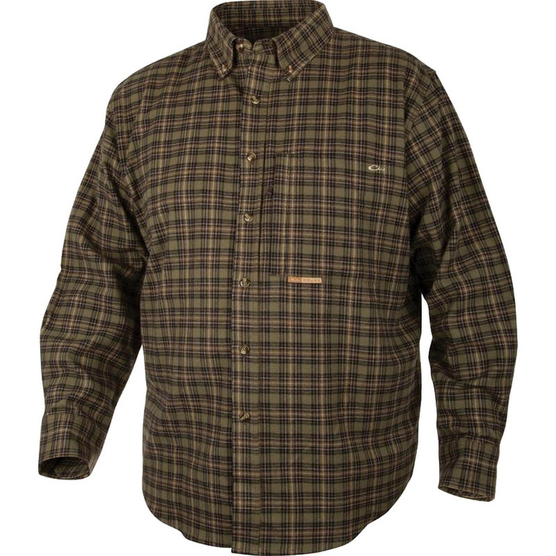 Drake Waterfowl Mens Autumn Brushed Twill Shirt in Hunter Tan Color