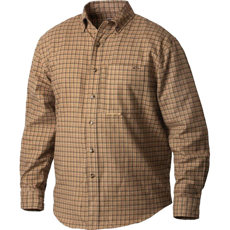 Drake Waterfowl Mens Autumn Brushed Twill Shirt in Tan Green Color