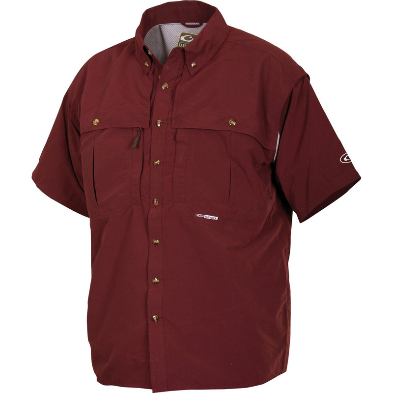 Drake Short Sleeve Vented Wingshooters Shirt in Maroon Color