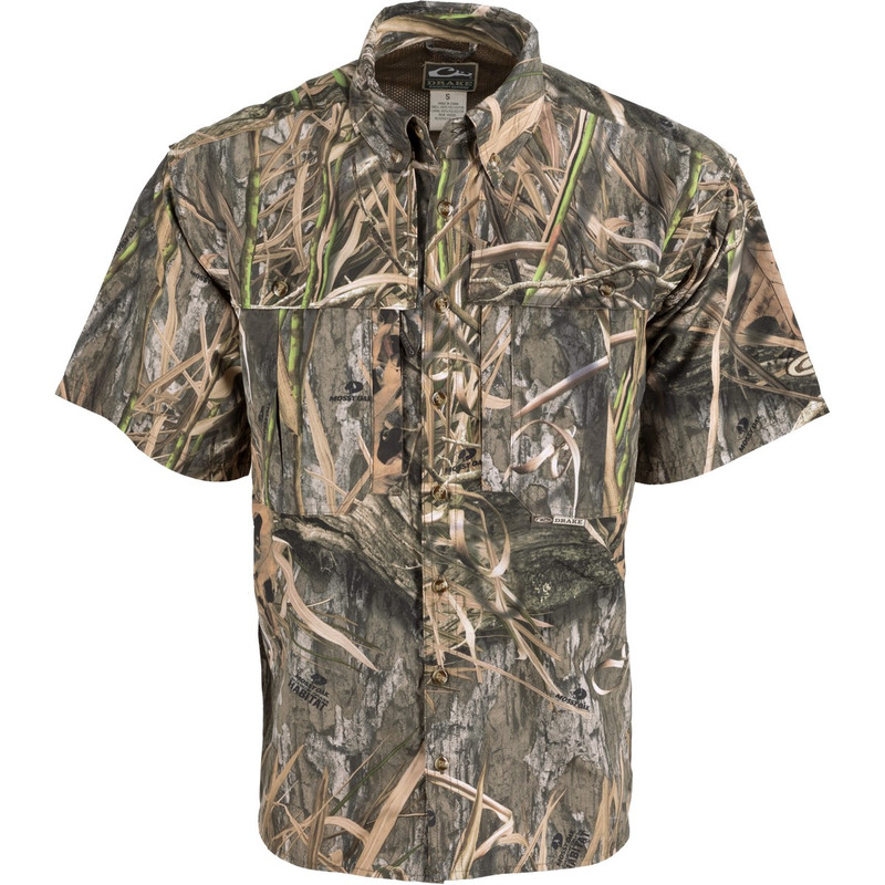 Drake Short Sleeve Vented Wingshooters Shirt in Mossy Oak Blades Habitat Color