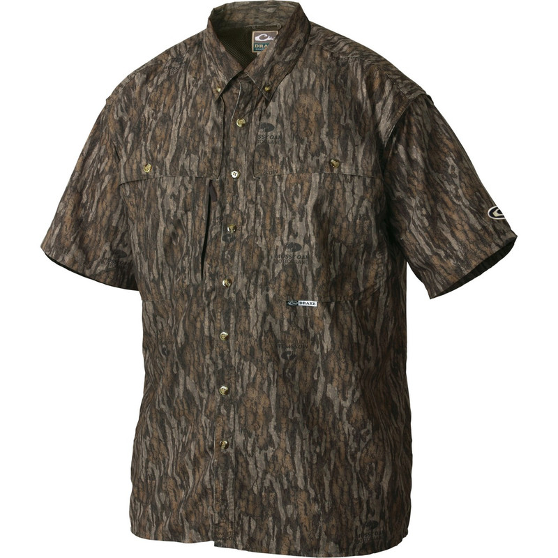 Drake Short Sleeve Vented Wingshooters Shirt in Mossy Oak Bottomland Color