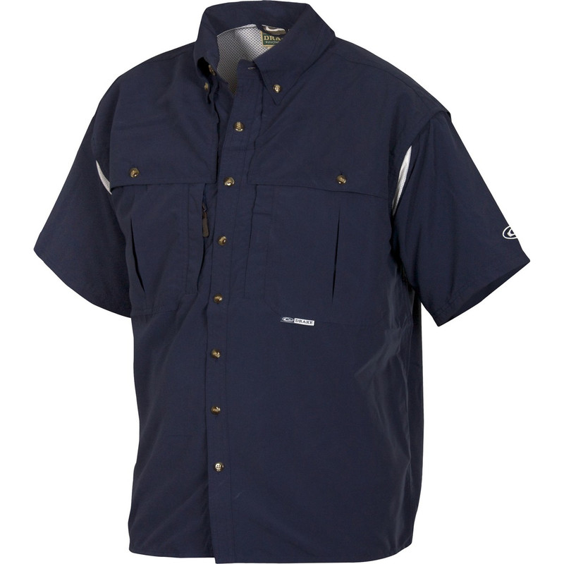 Drake Short Sleeve Vented Wingshooters Shirt in Navy Color