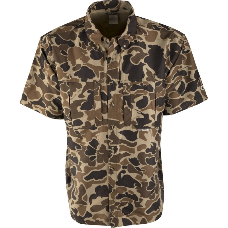Drake Short Sleeve Vented Wingshooters Shirt in Old School Camo Color