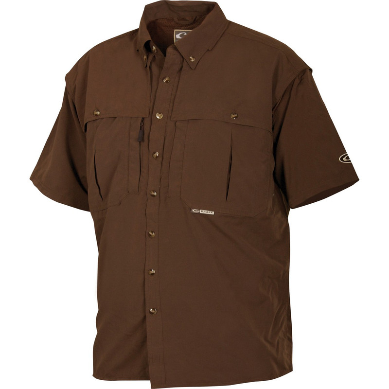 Drake Short Sleeve Vented Wingshooters Shirt in Olive Color