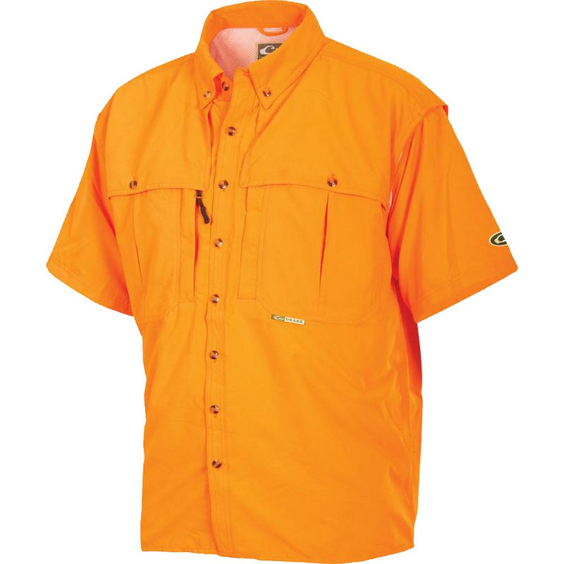 Drake Short Sleeve Vented Wingshooters Shirt in Orange