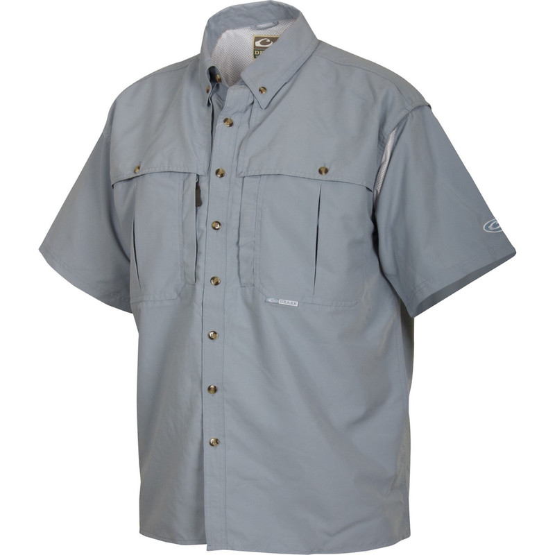 Drake Short Sleeve Vented Wingshooters Shirt in Powder Blue Color
