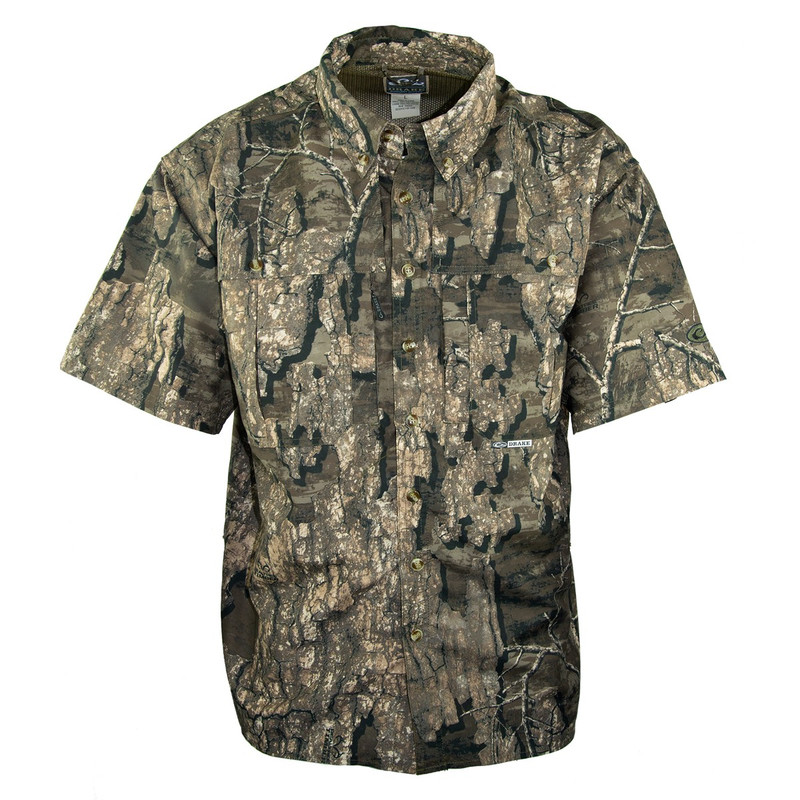Drake Short Sleeve Vented Wingshooters Shirt in Realtree Timber Color