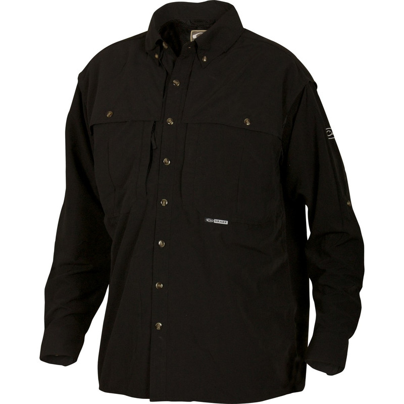 Drake Long Sleeve EST Vented Wingshooter's Hunting Shirt in Black Color