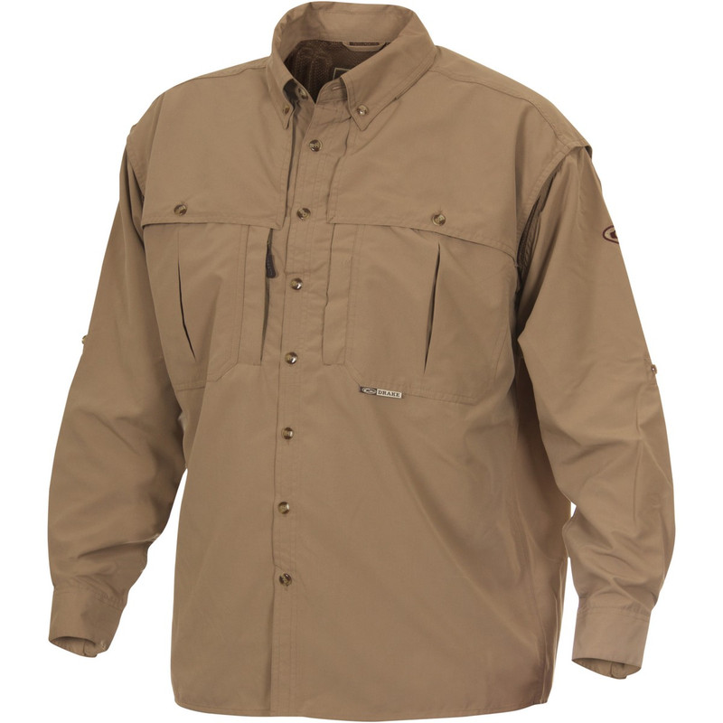 Drake Long Sleeve EST Vented Wingshooter's Hunting Shirt in Khaki Color