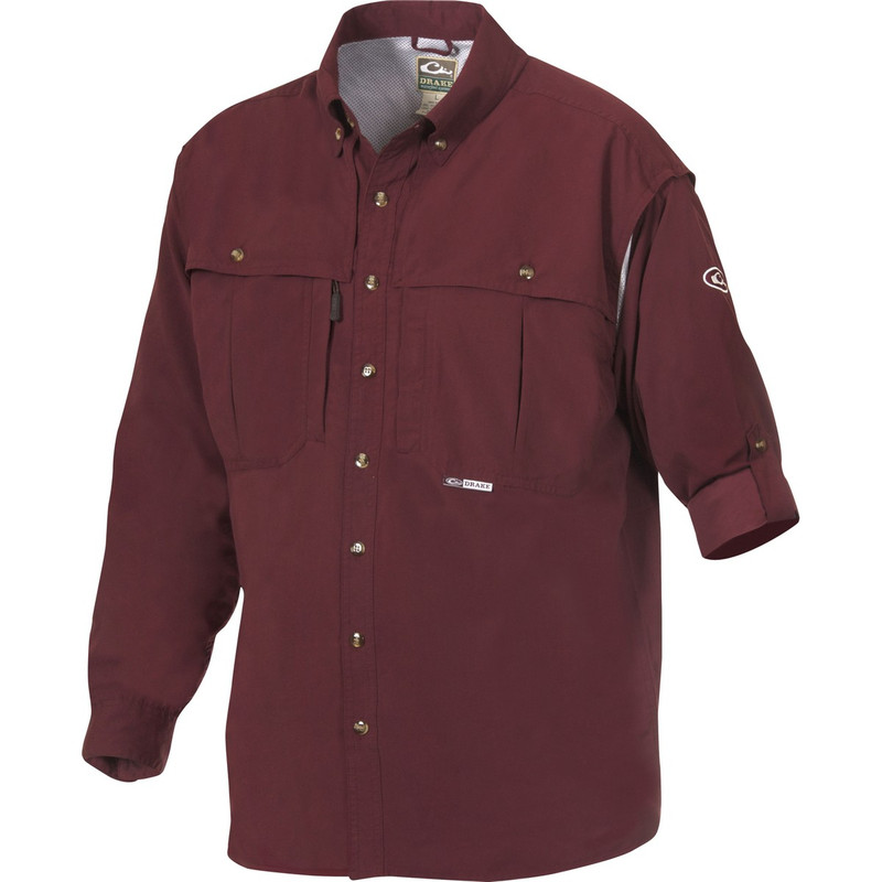 Drake Long Sleeve EST Vented Wingshooter's Hunting Shirt in Maroon Color