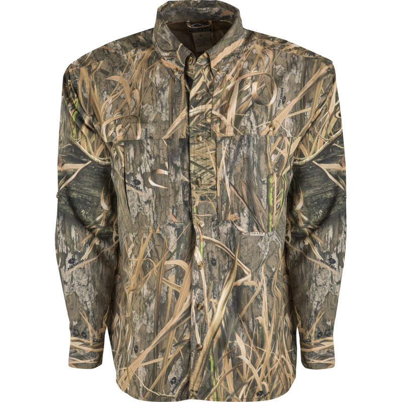 Drake Long Sleeve EST Vented Wingshooter's Hunting Shirt in Mossy Oak Blades Habitat