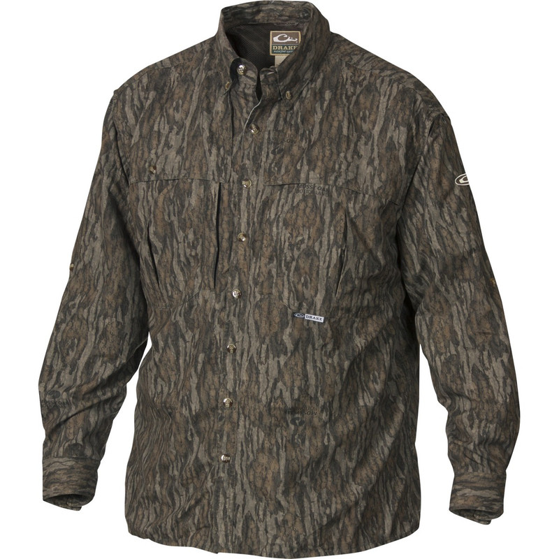 Drake Long Sleeve EST Vented Wingshooter's Hunting Shirt in Mossy Oak Bottomland Color