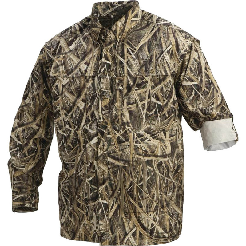 Drake Long Sleeve EST Vented Wingshooter's Hunting Shirt in Mossy Oak Shadow Grass Blades
